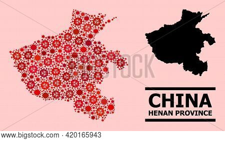 Vector Covid-2019 Mosaic Map Of Henan Province Designed For Pandemic Posters. Red Mosaic Map Of Hena