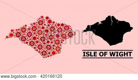 Vector Covid-2019 Mosaic Map Of Isle Of Wight Created For Pharmacy Projects. Red Mosaic Map Of Isle