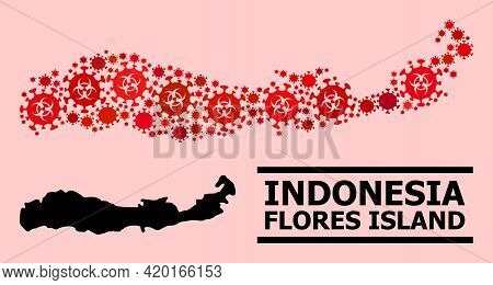 Vector Covid Collage Map Of Indonesia - Flores Island Constructed For Clinic Illustrations. Red Mosa