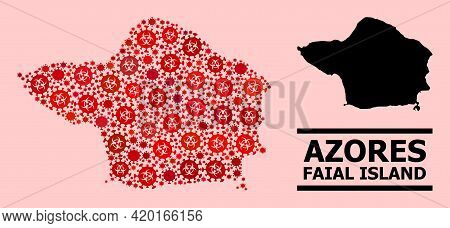 Vector Covid Mosaic Map Of Faial Island Constructed For Medicare Advertisement. Red Mosaic Map Of Fa