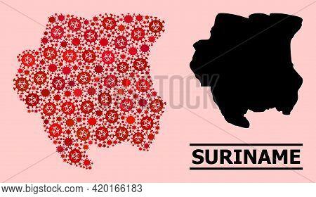 Vector Covid-2019 Mosaic Map Of Suriname Created For Doctor Illustrations. Red Mosaic Map Of Surinam