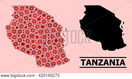 Vector Covid-2019 Collage Map Of Tanzania Combined For Health Care Advertisement. Red Mosaic Map Of
