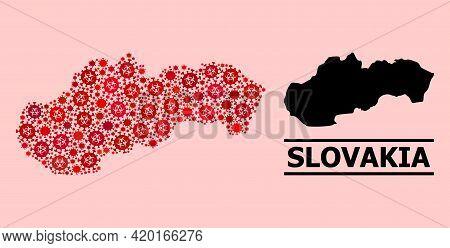 Vector Covid-2019 Mosaic Map Of Slovakia Organized For Pharmacy Posters. Red Mosaic Map Of Slovakia