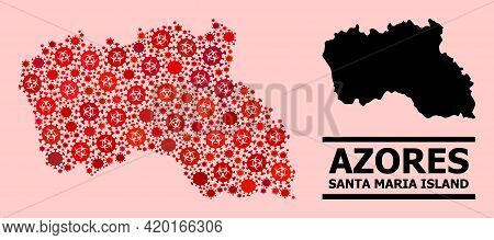 Vector Covid-2019 Mosaic Map Of Santa Maria Island Done For Clinic Projects. Red Mosaic Map Of Santa