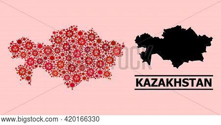 Vector Coronavirus Mosaic Map Of Kazakhstan Created For Health Care Advertisement. Red Mosaic Map Of