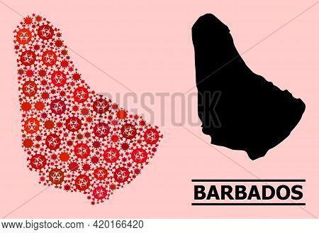 Vector Covid-2019 Mosaic Map Of Barbados Created For Doctor Illustrations. Red Mosaic Map Of Barbado