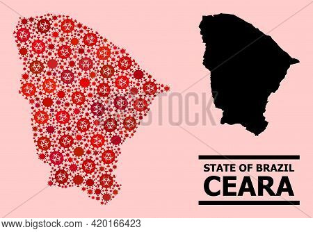 Vector Covid Mosaic Map Of Ceara State Organized For Pandemic Projects. Red Mosaic Map Of Ceara Stat