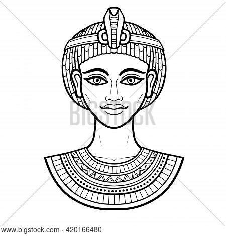 Animation Portrait Of Beautiful Egyptian Woman. Goddess, Princess, Queen. Vector Illustration Isolat
