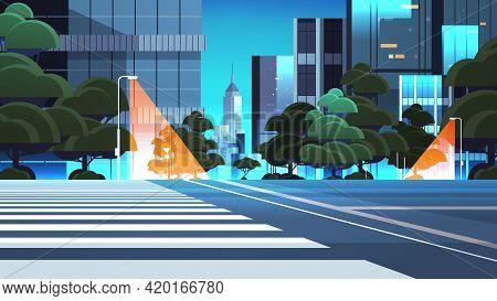 Empty Night Street Road With Crosswalk City Buildings Skyline Modern Architecture Cityscape Backgrou