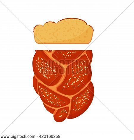 Sliced Hala With Sesame Seeds Is The National Jewish Food. White Bread. Vector Illustration Isolated