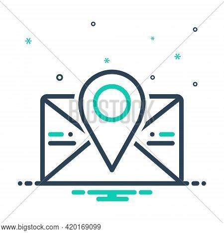 Mix Icon For Postcode Poatal Pincoad Letter Massage Email Location Address Communication Envelope Po