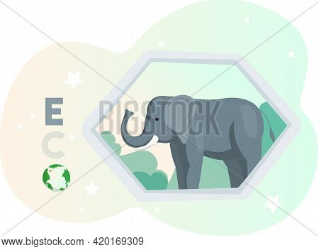 Eco Friendly, Nature Conservation, Environmental Protection. Elephant With Eco On Abstract Backgroun