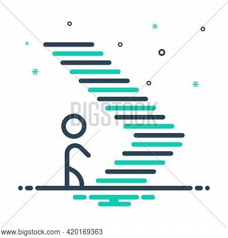 Mix Icon For Step Climb Footstep Walk Ladder Iterance