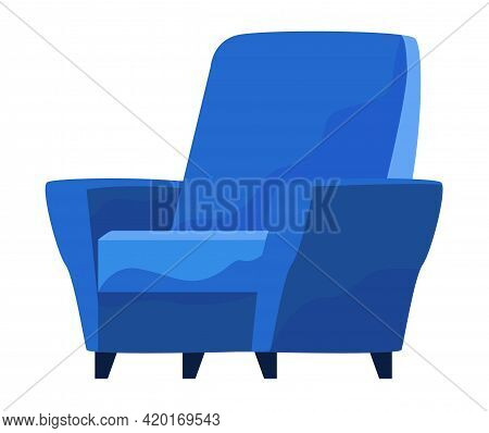 Blue Comfortable Armchair Isolated On White Background. Interior Element Of Living Room. Soft Furnit