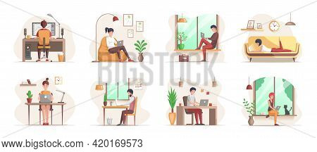 Working At Home, Coworking Space. Freelance People Work In Comfortable Conditions. People At Home In