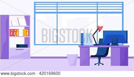 Office Premises With Large Window On Background. Workplace Of Employee With Monitor On Table, Comput