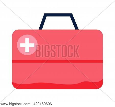 Red First Aid Kit Isolated On White Background. Medical Box With White Cross Like Diagnostics Concep