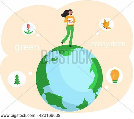 Take Care About Green Planet. Nature And Ecology Modern Graphic Design Poster. Girl With Papers Stan