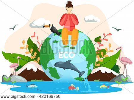 Woman Sitting On Globe With Various Flora And Fauna. Cartoon Earth Habitats, Animals, Plants And Wil