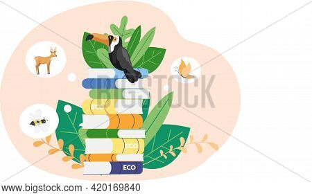 Eco Friendly, Nature Conservation, Environmental Protection. Toucan Is Standing On Pile Of Books. Re