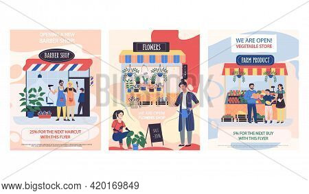 Set Of Illustrations About New Stores. Barbershop, Flower Shop, Market With Farm Products. Announcem