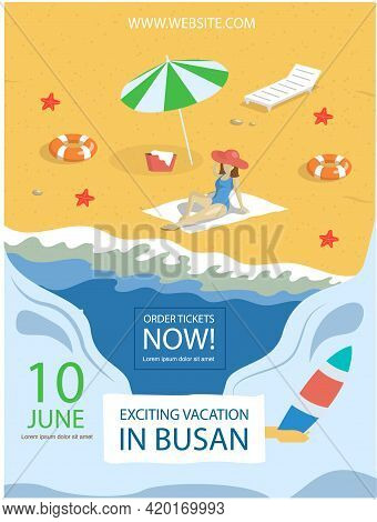 Exciting Vacation In Major Port City Busan Tourist Travel Promotion Poster With Beach And Sea Summer