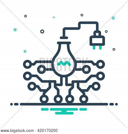 Mix Icon For Electronic Technology  Circuits Appliances Motherboard