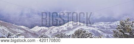 Downtown Salt Lake City View From Little Black Mountain Peak Winter Snowscape Mountain Hiking Trail