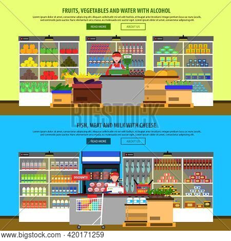 Supermarket Interior Horizontal Banners Set With Groceries And Foodstuff On Shelves Isolated Vector