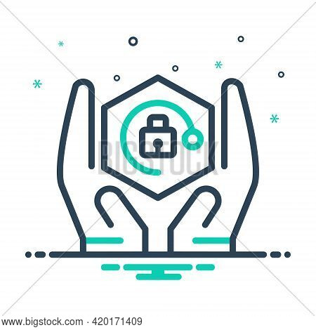 Mix Icon For Safety Security Protection Conservancy Defensive