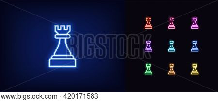 Neon Chessmen Rook Icon. Glowing Neon Rook Sign, Outline Chess Piece, Tower Silhouette In Vivid Colo