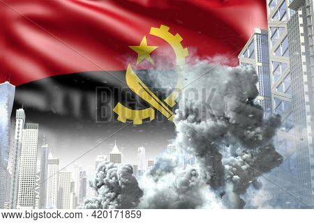 Large Smoke Column In Abstract City - Concept Of Industrial Blast Or Terrorist Act On Angola Flag Ba