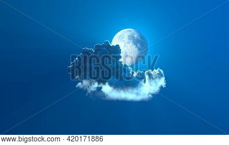 Alone Night Cumulus With Moon - Digital Nature 3d Rendering