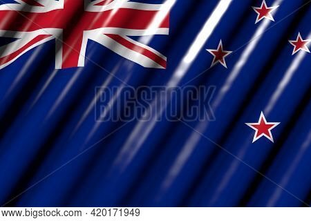 Cute Feast Flag 3d Illustration  - Shiny - Looking Like Plastic Flag Of New Zealand With Big Folds