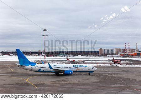 Russia Moscow 2021-03-01 Boeing 737 Pobeda Airlines Russian Company Low Cost Price In Airport