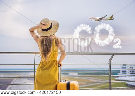 Beautiful Young Woman Ltraveler In A Yellow Dress And A Yellow Suitcase Is Waiting For Her Flight Co