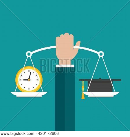 Businessman Hand Holds White Mechanical Scales With Clock And Mortar Board In Pans. Education Value,