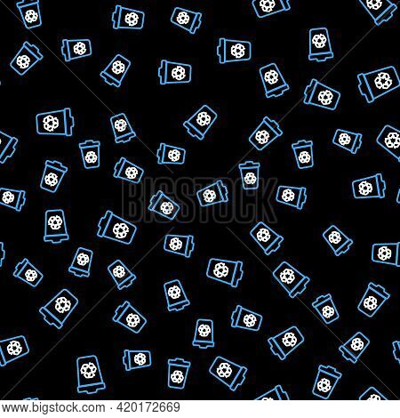 Line Recycle Bin With Recycle Symbol Icon Isolated Seamless Pattern On Black Background. Trash Can I