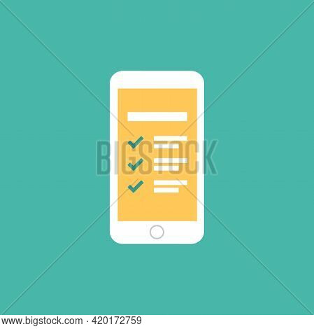 Smartphone With To-do Check List With Ticks And Points. Clipboard With Check Marks. Schedule App, Or