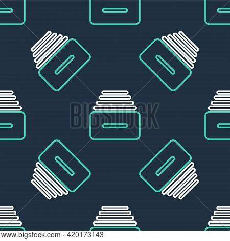 Line Drawer With Documents Icon Isolated Seamless Pattern On Black Background. Archive Papers Drawer