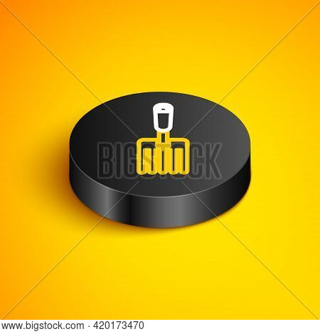 Isometric Line Garden Fork Icon Isolated On Yellow Background. Pitchfork Icon. Tool For Horticulture
