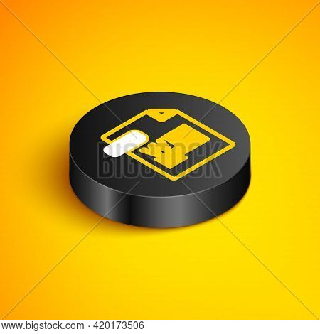 Isometric Line Doc File Document. Download Doc Button Icon Isolated On Yellow Background. Doc File E
