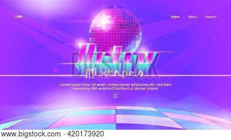 Retro Mixtape Banner With Dance Floor And Disco Ball. Club Party With Music Of 80s And 90s. Vector L