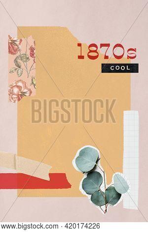 Vintage paper collage background illustration