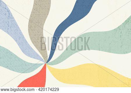 Bold color wavy sunburst effect pattern on a beige background