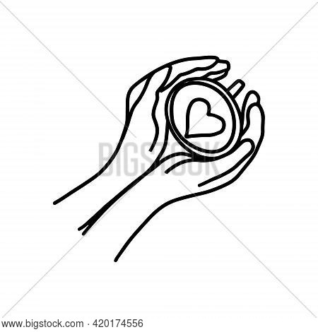 Hand Drawn Doodle Sketch Vector Illustration Of Female Hands In A Top View Holding Coffee Or Tea Cup