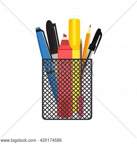 Flat Vector Illustration Of Various Pens, Pencils And Scissors In Black Mesh Pen Holder. Isolated On