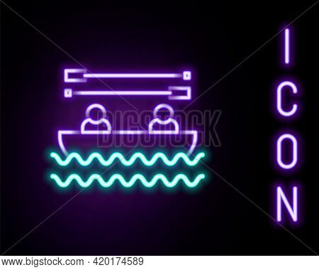 Glowing Neon Line Boat With Oars And People Icon Isolated On Black Background. Water Sports, Extreme