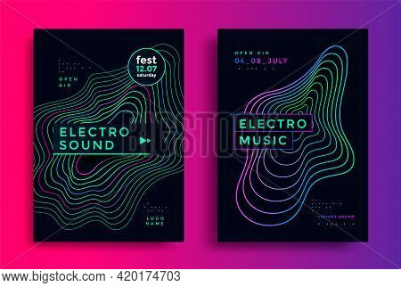 Electro Summer Wave Music Poster. Club Party Flyer
