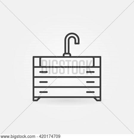 Vanity Unit With Sink Outline Vector Concept Icon